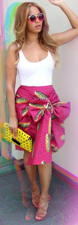 Beyonce Knowles: Shoes – Azzedine Alaia Sunglasses – Quay Purse – Milli Millu Skirt – Stella Jean