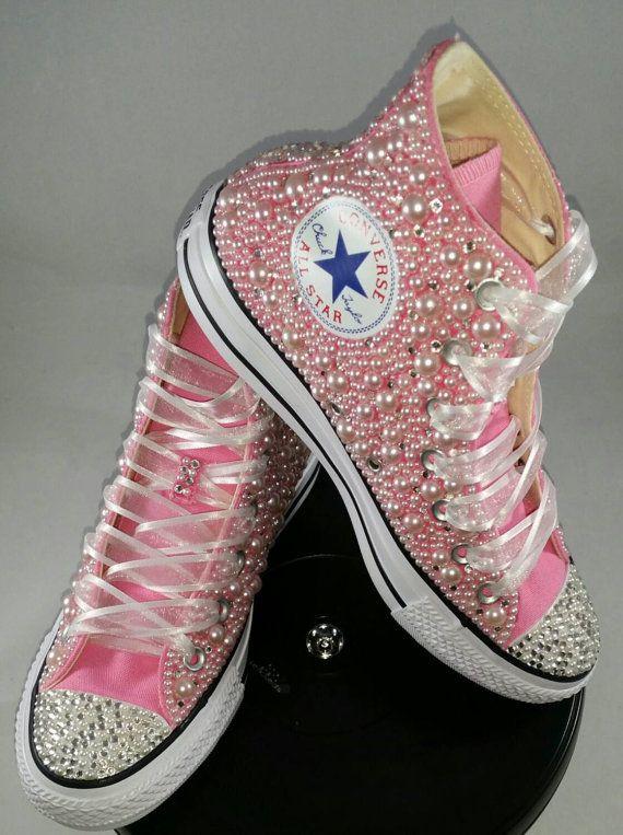 5970a936c15 Wedding Converse- Bridal Sneakers- Bling   Pearls Custom Converse Sneakers-  Bridal Chuck Taylors- Wedding Sneakers- Converse hochzeit- Bride en 2019