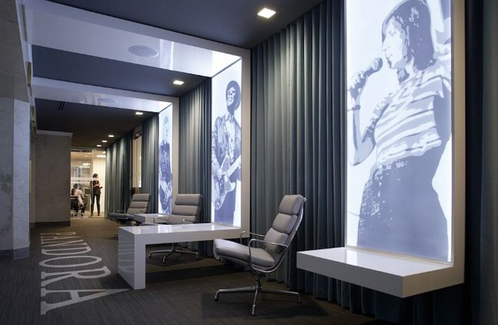 Pandora Internet Radio office by Eastlake Studio, Chicago store design....ceiling to wall to fixture treatment