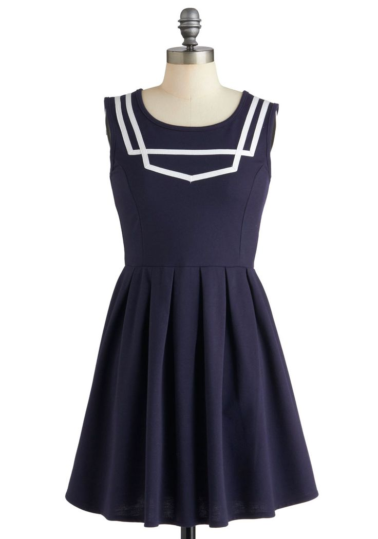 What a Ketch Dress by Dear Creatures - Mid-length, Blue, White, Solid, Pleats, Casual, A-line, Sleeveless, Nautical, Vintage Inspired, Top Rated