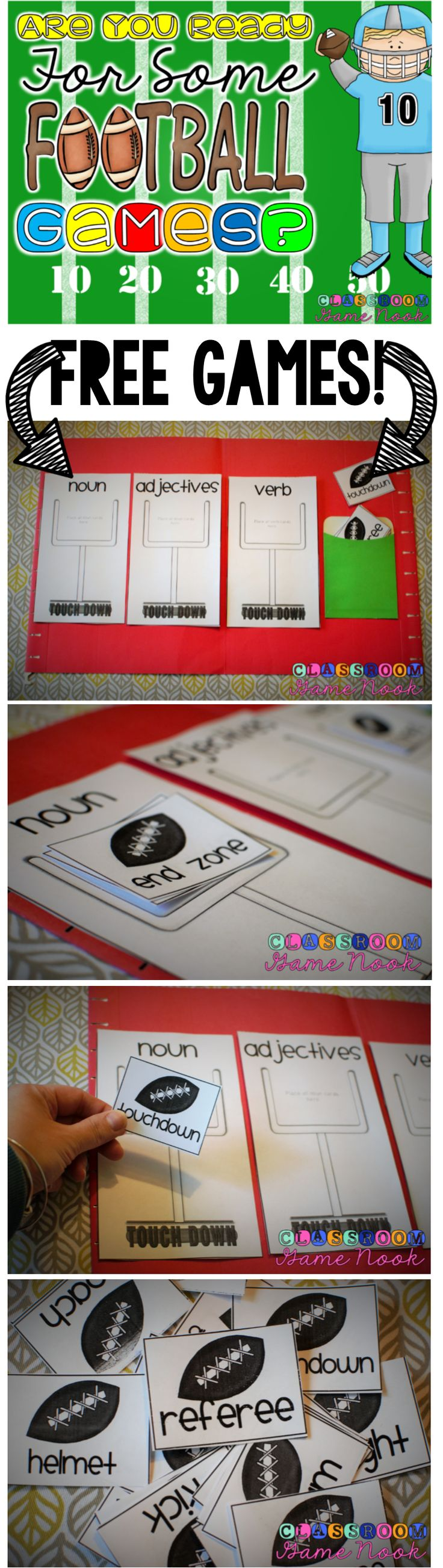 2 FREEBIE football themed games perfect for centers during the football season!