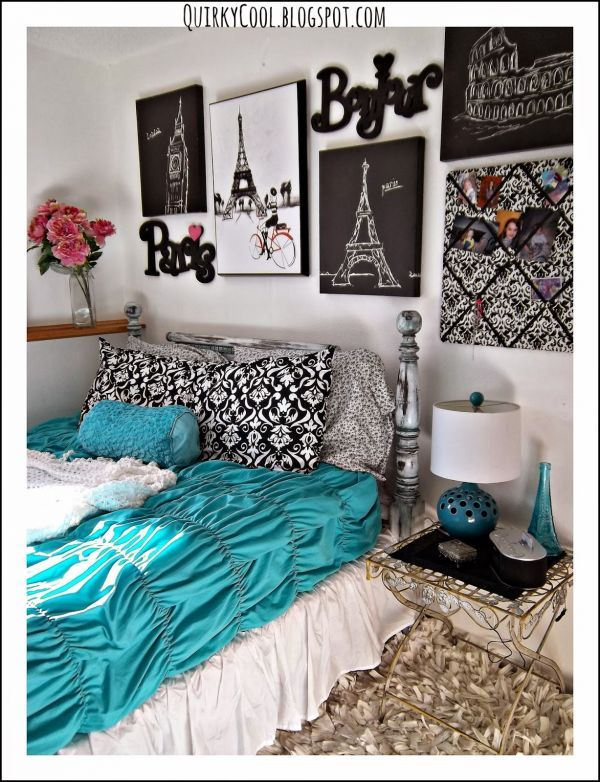 pretty teal and grey room  paris theme