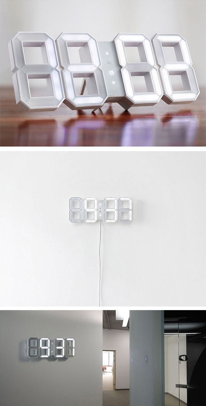 This white digital LED clock would look extra striking against a boldly painted accent wall.