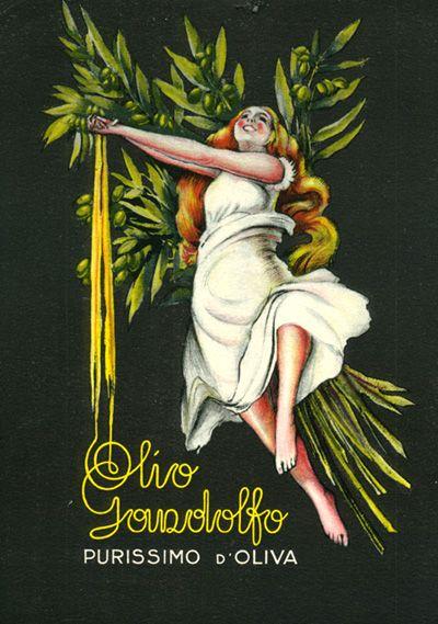 Olio purissmo Gandolfo, Oneglia (Imperia - Liguria). Vintage Italian Poster olive oil #essenzadiriviera.com