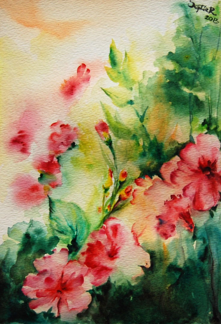 Original watercolor painting abstract flowers spring for Spring flowers watercolor