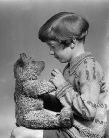 The real Christopher Robin and the real Winnie-the-Pooh teddy bear