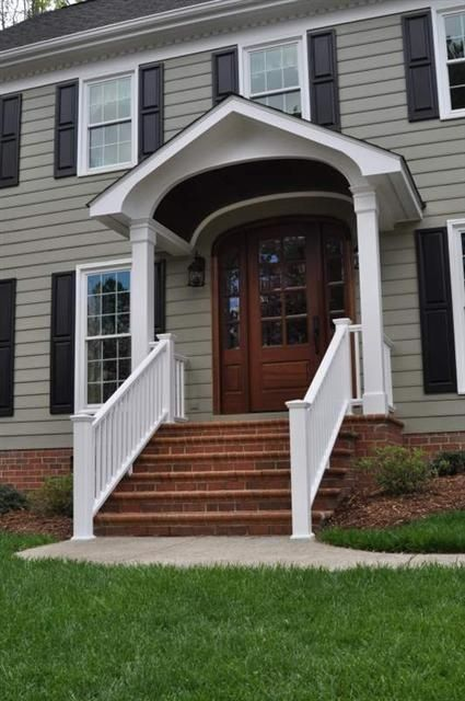 portico with railing | wide portico, white railings