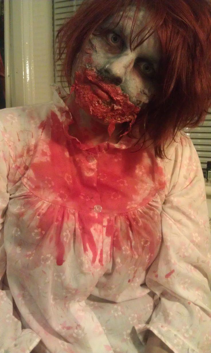 Zombie hospital patient Halloween costume and makeup