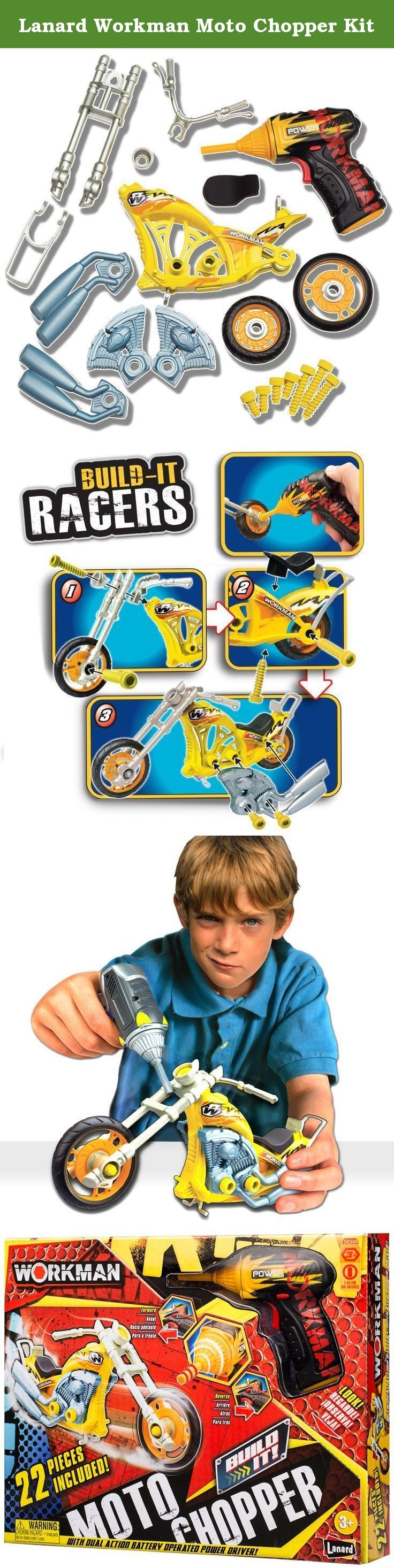 Lanard Workman Moto Chopper Kit. Too young to have your own chopper? Now you can build and create your own Authentic Moto Chopper! Set includes a 2 way Power Driver for quick assembly. The power driver runs on 2 AA batteries, not included. 22 pieces total.
