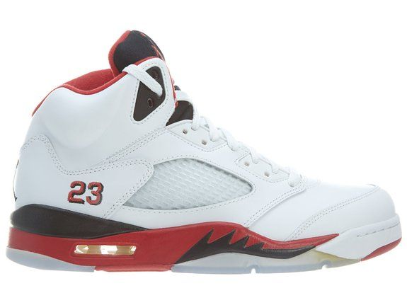 Nike Mens Air Jordan Retro 5 Basketball Shoes White/Fire Red/Black 136027-