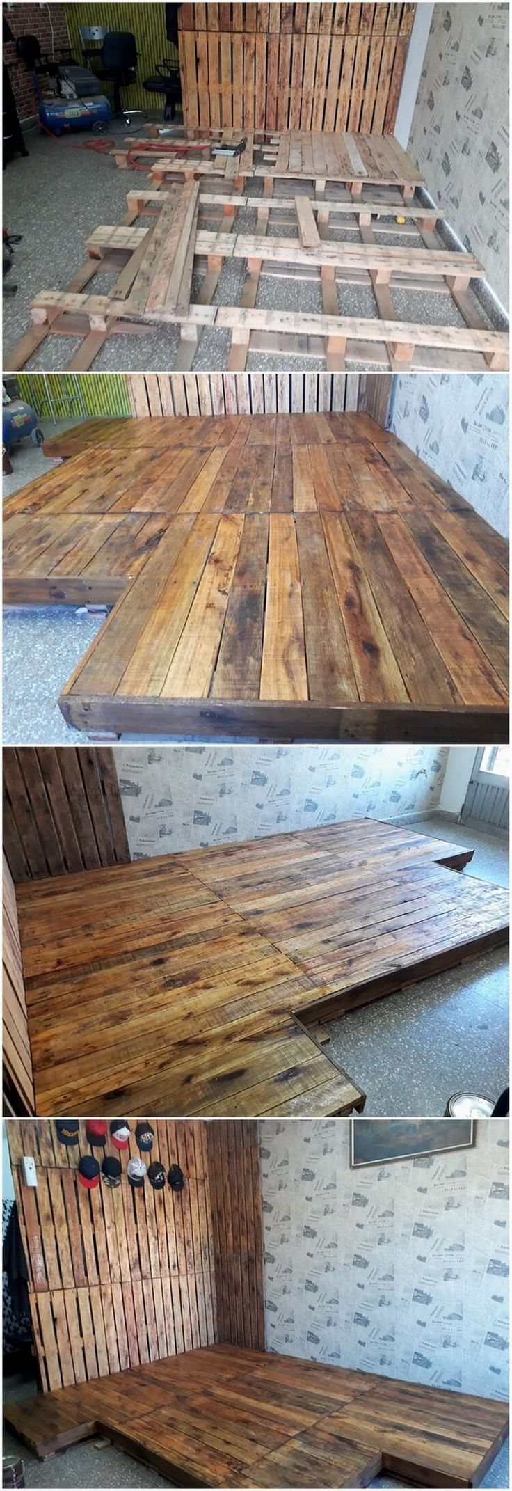 This is a much attractive looking crafting of the wood pallet that is giving the feel of beautification to the floor area. Yes, this crafting project has been all about the pallet flooring that is giving out the artistic impact to the whole of the floor area.