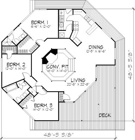 47 best octagon houaes images on pinterest octagon house for Octagon deck plans free