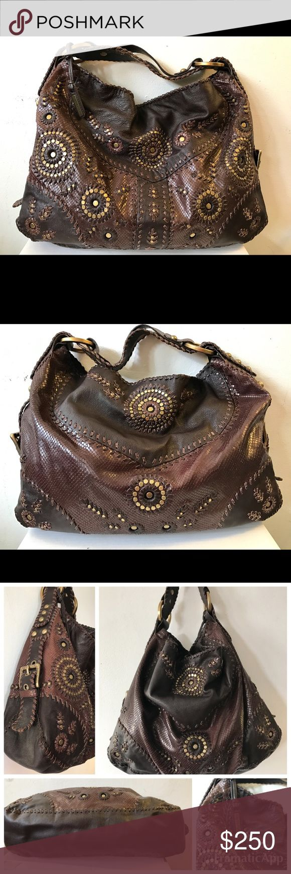 """Isabella Fiore Kool Whip Yvonne Studded Hobo Bag Isabella Fiore Kool Whip Yvonne Leather Studded Hobo Bag $645 retail. Pristine!  18""""L x 13""""H x 5""""W  From the 2006 collection, the Kool Whip bag is an Indian/Middle Eastern Hobo w/modern flair! large size holds your everyday essentials. The wide strap sits comfortably. gold studded circles & woven leather. Snake leather. large brass """"O"""" rings attach the strap to the bag. magnetic snap closure, lined in brown twill. strap drop 9"""" Isabella Fiore…"""