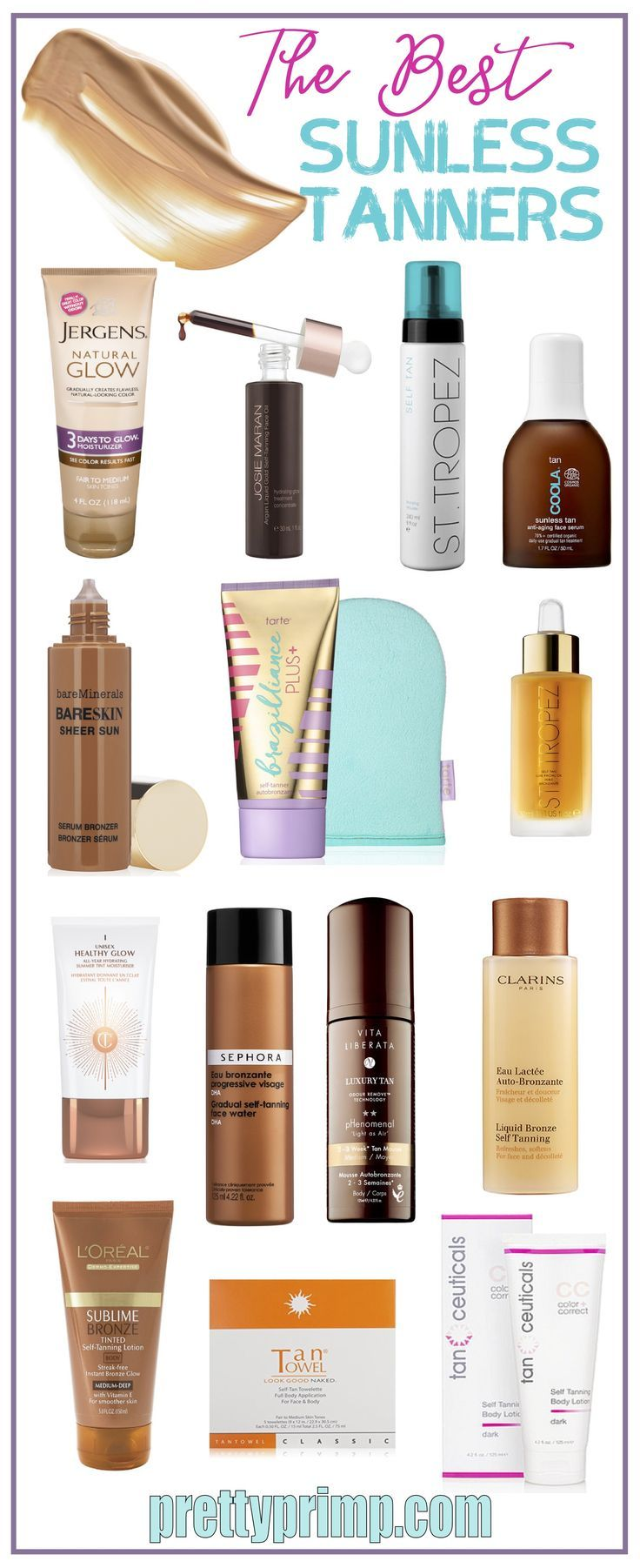 The best and most natural looking sunless tanners for face and body that will help you achieve a gorgeous tan year round! These self tanners range from drugstore brands to high end, so there's something for everyone's budget.