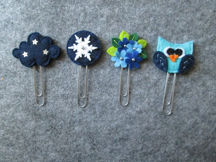 Set di 4 graffette invernali: nuvola stellata, bouquet, fiocco di neve e gufo; Segnalibri in feltro; Planner accessories; Regalo per lettori di TinyFeltHeart su Etsy