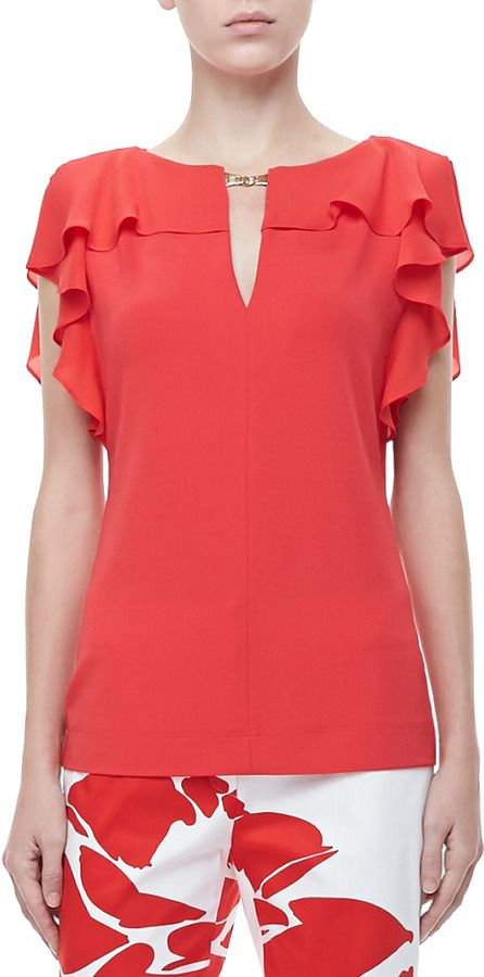 Escada Ruffle-Sleeve Silk Top, Poppy on shopstyle.com