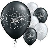 From 3.97 Congratulations Graduate Assorted Pearl Onyx Black And Silver Printed Latex Balloons By Qualatex Pack Of 10