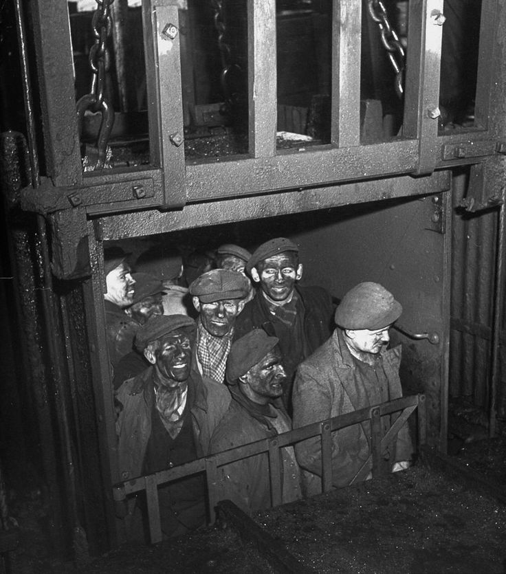 UK April 1947 | Coal miners coming up from the depths in the old Ty Trist mine