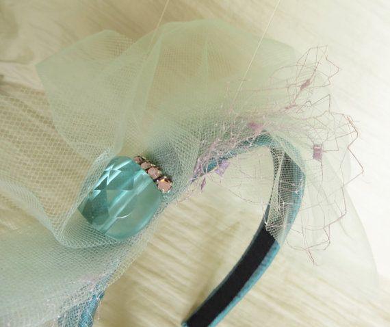 Beaded wedding fascinator couture silk emerald by LoveThirties