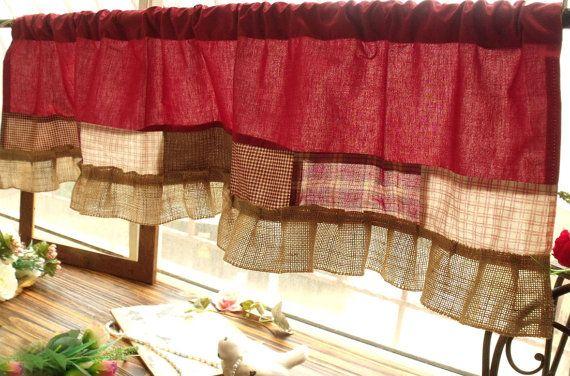 Patchwork ferme rustique rouge rose vérifier par BetterhomeLiving