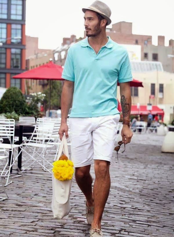 look: aqua polo shirt + white shorts + boat shoes | The Style Examiner: Dockers Spring/Summer 2014