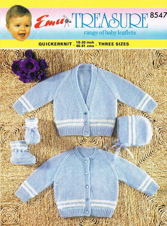 Emu 8547 baby cardigans vintage knitting pattern PDF instant download
