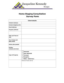 Home Staging Consultation Survey Form Client Details Contact Name