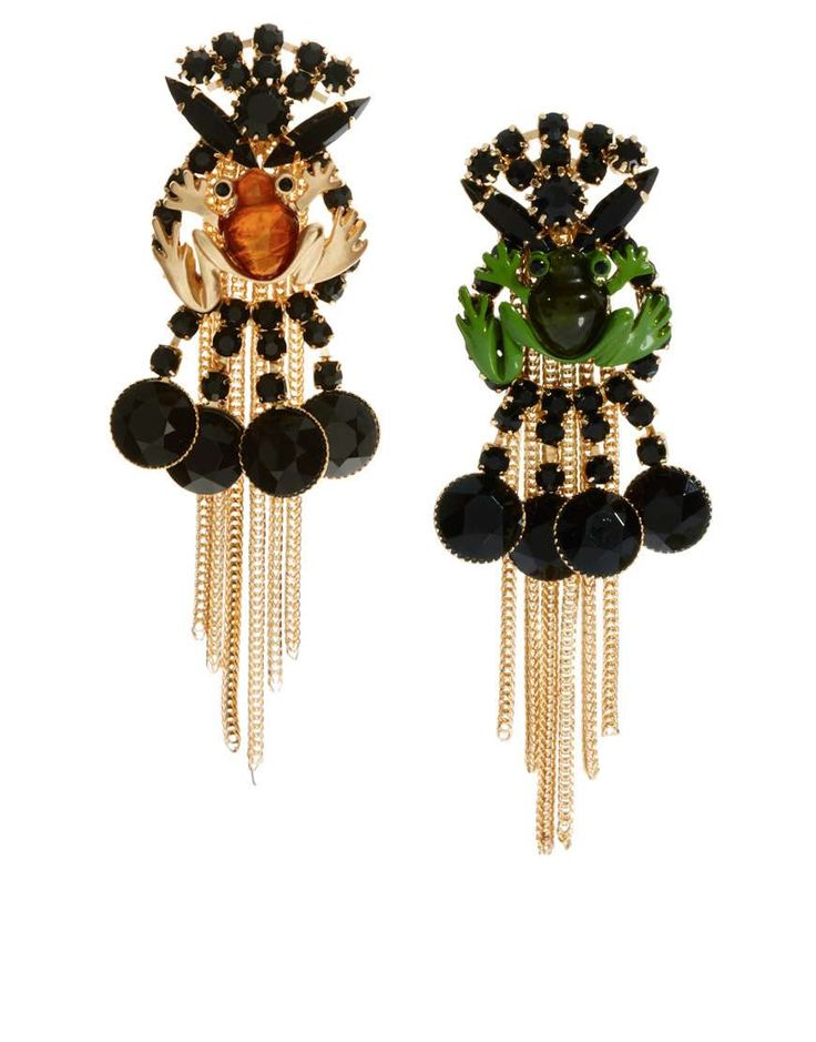 ASOS Frog Drop Earrings. | fall trends for women - gemstones | womens earrings | stye | fashion | Check out more gemstones at http://www.wantering.com/womens-clothing/jewelry/