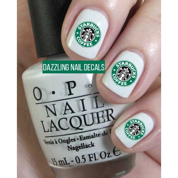 Starbucks Nail Decals ($4) ❤ liked on Polyvore featuring beauty products, nail care, nail treatments, nails, beauty y makeup