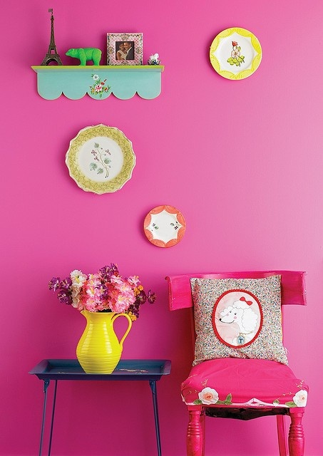 : Colour, Interior Design, Pink Walls, Style, Decoration, Wall Color, Colors, Pink Room, House