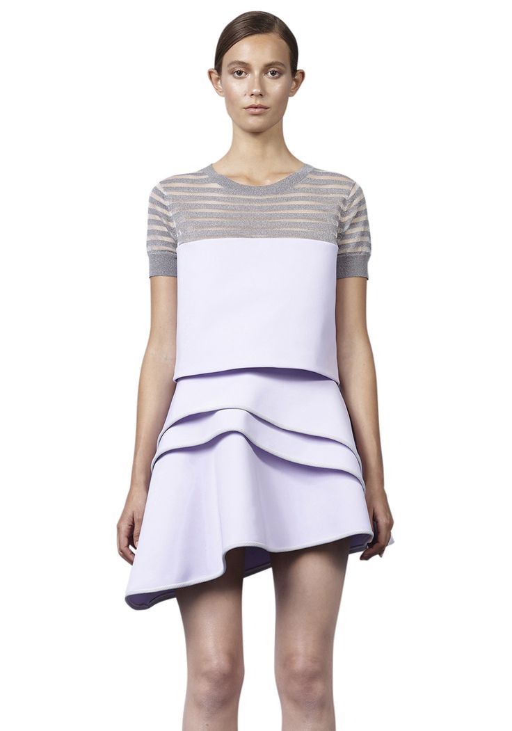 BY JOHNNY  - Lilac Ruffle Mini Skirt - Lilac Grey