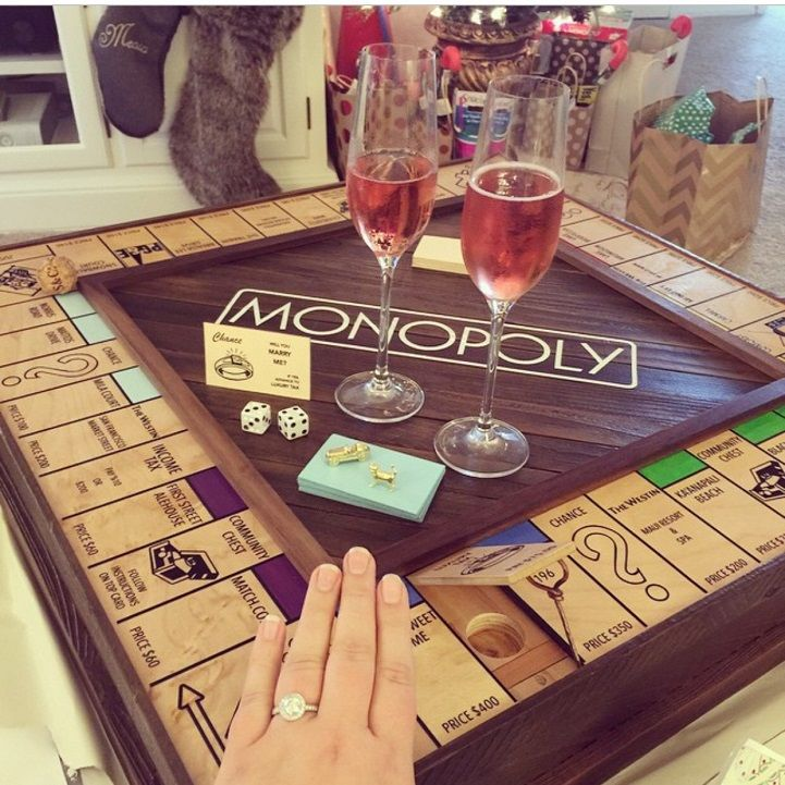 This man handcrafted a custom Monopoly board in order to propose to his girlfriend. What a way to incorporate a DIY project into a proposal!