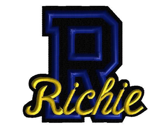 Custom Embroidered Varsity Letter Name by SmoothStitchesDesign