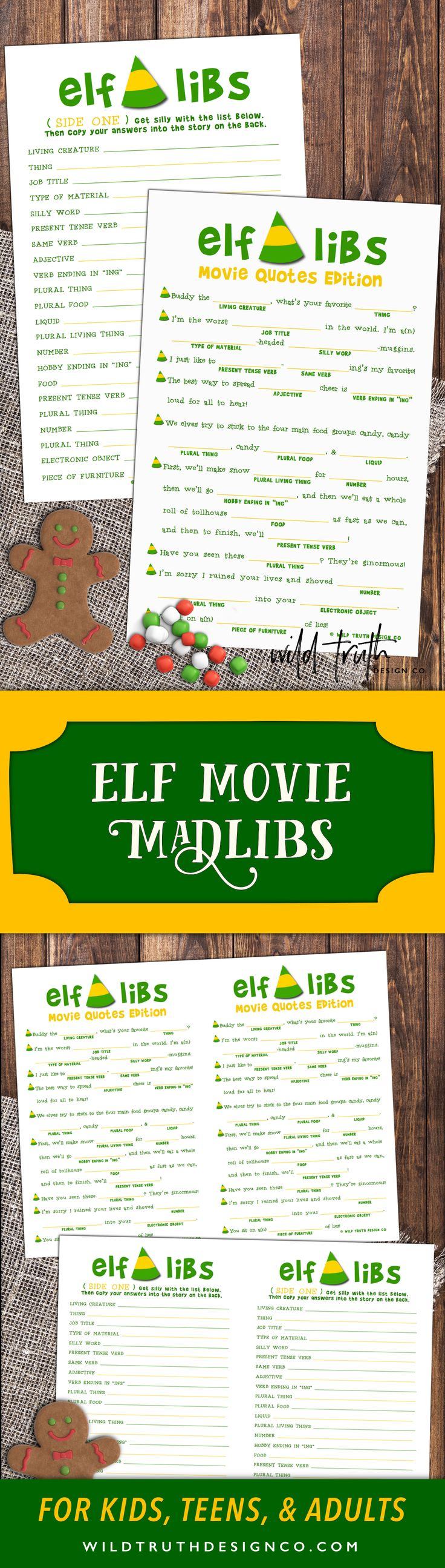 Elf Mad Lib Christmas Activity - Buddy The Elf Movie Quote Game -- Play it at your Christmas party, spice up that office party, or add them to stocking stuffers or holiday treat bags. Don't be a cotton headed ninny muggins. Download your today!