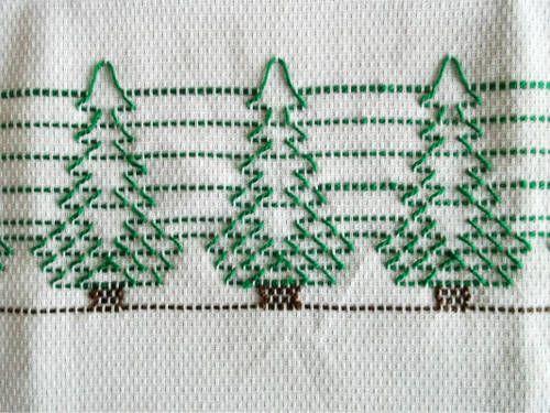Huck embroidered Christmas trees