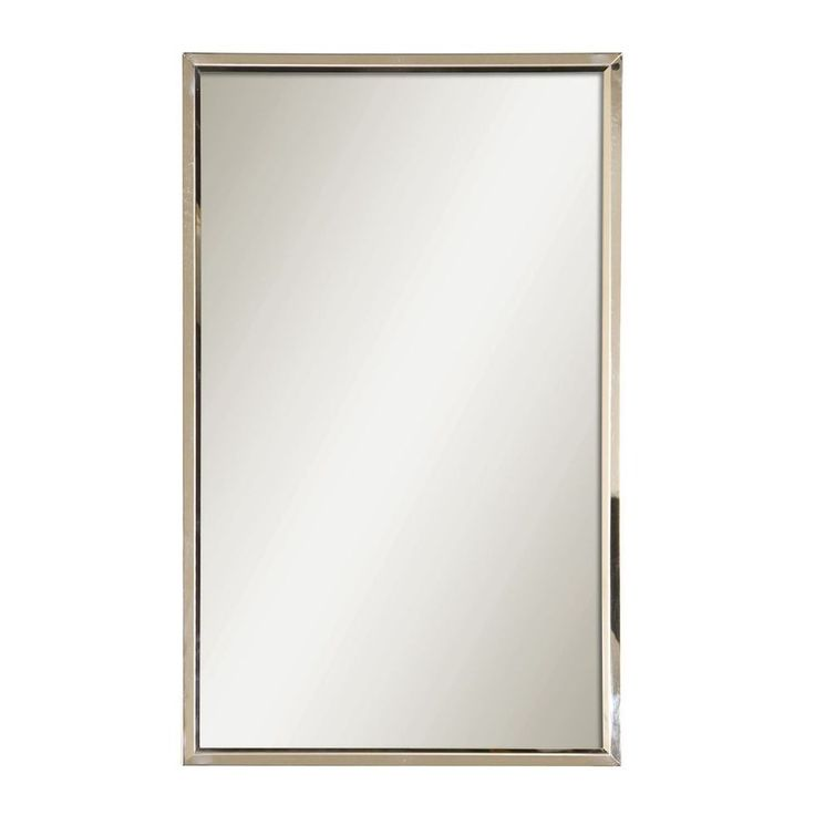 Image On Style Selections x Polished Stainless Steel Rectangle Framed Wall Mirror