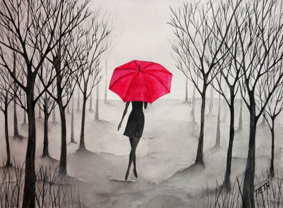 ORIGINAL Watercolor Painting – Mysterious Girl (11''x14'') NOT A PRINT!!!