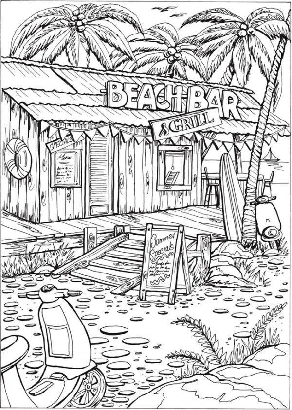6 Summer Scene Coloring Pages Detailed Coloring Pages Summer Coloring Pages Beach Coloring Pages