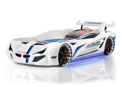 Autobed 'M8' wit met ledlichtjes en geluid | Wit met blauwe streep en zwarte velgen met witte ledlichtjes in de wielen en blauwe ledlichtjes onder de auto | MVN 1 WHITE | Kinderbedden