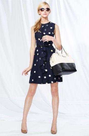 Kate Spade New York 'bailey' polka dot cascade ruffle dress