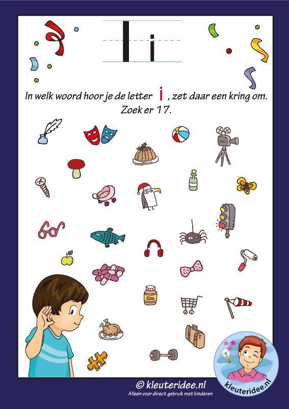 Pakket over de letter i blad 8, waar hoor je een i, letters aanbieden aan kleuters, kleuteridee, free printable.