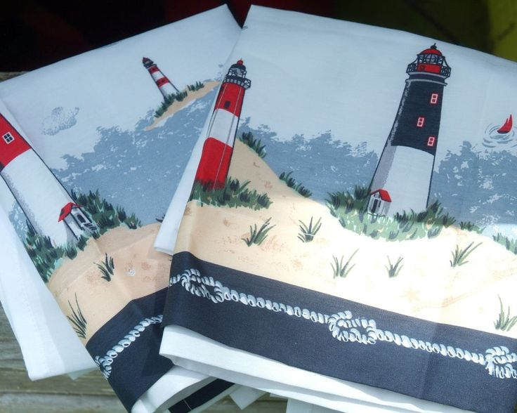 Beach Cottage Curtains with Lighthouse Motif set of 2 Window Curtains White Blue #Unbranded #Nautical