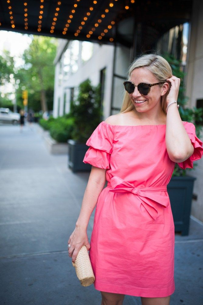 Off the Shoulder ruffle dress Club Monaco Blush and Blooms