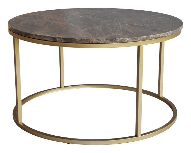 Modernt soffbord i polerad brun marmor och matt lackad metall. Mått Dia 85, höjd 48 cm. Då marmor är ett naturmaterial är det normalt att små avvikelser i storlek, färg och struktur förekommer. Underhåll av marmor För att ge stenen sitt grundskydd rekommenderas marmorpolish som du hittar i välsorterade färgbutiker. Stryk på ett tunt lager. Låt torka i några minuter. Polera upp till glans med en torr trasa. Detta bör upprepas 1 gång per år. Då marmor är en porös stensort måste man vara extra…