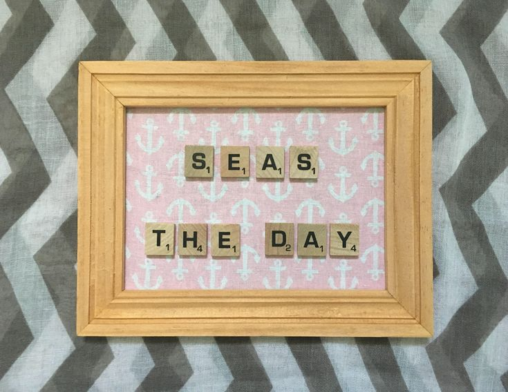 Seas The Day - Letter Word Scrabble Tile Letters - Frame Display Wall Hanging - Coastal Decor - Pink - Beach Decor - Home Decor - Salty Air by SaltyAirInspirations on Etsy https://www.etsy.com/ca/listing/583891143/seas-the-day-letter-word-scrabble-tile
