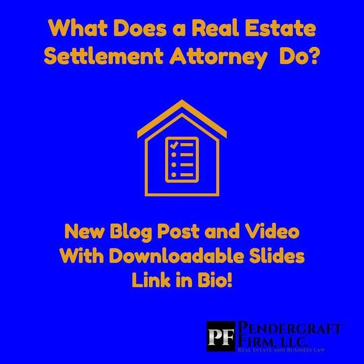 """New blog post and video on what a real estate settlement attorney does. With downloadable slides!  Settlement is the """"wrapping up"""" or conclusion of a real estate transaction. Also called """"closing."""" It's essentially the exchange of (1) promises (2) money and (3) legal rights to the property between buyer seller and interested parties such as lenders.  Although in many jurisdictions the buyer has the right to choose a settlement attorney the role is a neutral. The settlement attorney's role is to oversee the transaction.  Examples of things a settlement attorney does: -Follow the roadmap provided by the real estate contract  -Follow the lenders closing instructions  -Compliance with State and Federal law  -Conducting or ordering a title search to check for title issues  -Help the buyer get a title policy -Paying off seller's existing mortgages -Disbursing funds  -preparation and recording of deed/ deed of trust  Check out the blog post and the video in the link for more info. The slides are free to download."""