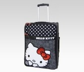 An image of Hello Kitty Rolling Luggage: Black + White Dot