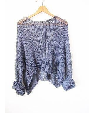 Your perfect hand knit sweater oversize in blue color
