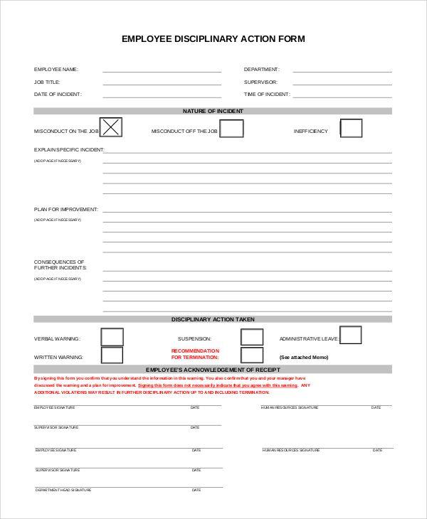 Employee Disciplinary Forms Template Pdf, Sample resume, Resume