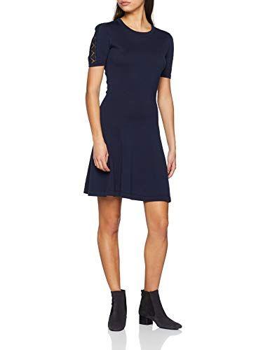 12d1a13be96d94 Tommy Hilfiger Damen Kleid WIDRA C-NK SWTR Dress Blau (Midnight 403) Large